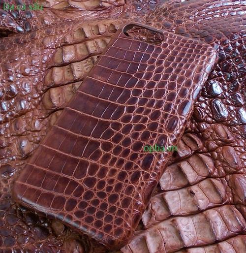 Ốp lưng IONE IPHONE 7 PLUS Bọc da cá sấu made in vietnam 100% leather màu nâu đỏ