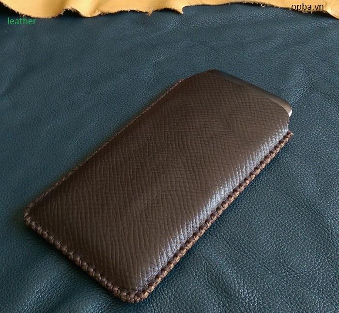 Bao da túi rút opba Obi Sf1 handmade leather màu nâu đất